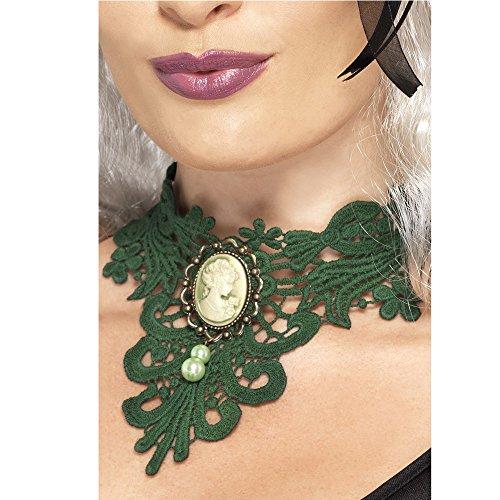Smiffys 21448 - Femme Fatale gotische Spitze Choker mit Cameo-Brosche und Faux-Perlen, grün