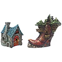 Bundle of 2 Resin Fiddlehead Fairy Garden Homes - The Bakery and The Ladies Boot