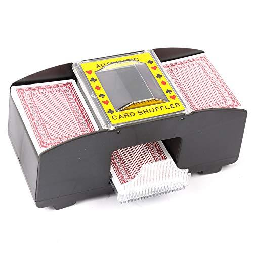 RonDelo® Kartenmischmaschine 2 Decks Elektrisch Kartenmischgerät batteriebetrieben zum Mischen von Karten beim Pokern, Rommé und Skat auf Knopfdruck Karten sortieren