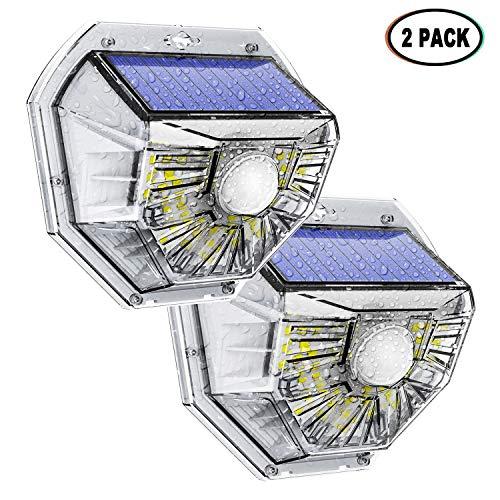 Neue Solarleuchten für Außen, 2-Stück Solarlicht 270°Solar Beleuchtung Wasserdichte LED Solarlampen Außen mit Bewegungsmelder 2 Modi für Garten, Auffahrt,Gang, Veranda, Gehweg Sicherheitsnachtlicht