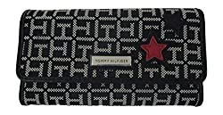 Tommy Hilfiger Womens Wallet Monogram Star Fabric Checkbook Wallet Stars (Black)