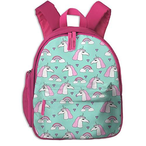 Zaino per bambini 2 anni,unicorno unicorno rosa menta dolce bambine arcobaleno cuori gioielli gemme_4524 - andrea_lauren, per scuole per bambini panno oxford (rosa)