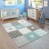 Paco Home Tappeto per Bambini A Quadri Cuori Stelle Diversi Colori e Misure, Dimensione:120x170 cm, Colore:Blau