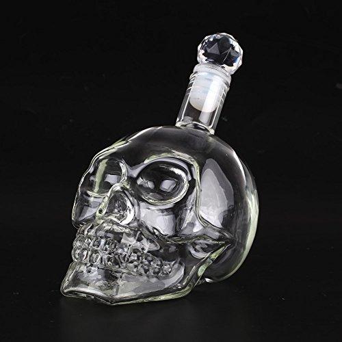 Amzdeal Skull Glas Flasche, Totenkopf Flasche 350ml mit 6 Schädel Gläser 75ml, Schädelflasche mit Whisky Vodka oder Schnapsgläser - 7