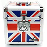 Gorilla 30,5 cm LP vinyl record Storage box Flight Carry case holds 100pcs Union Jack - con garanzia a vita