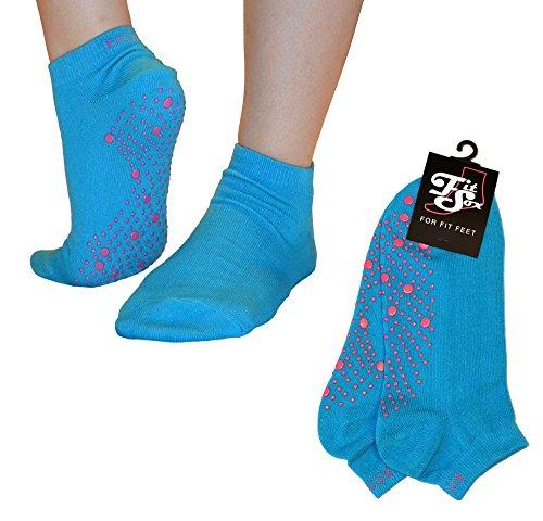 Pilates, Yoga, Barre, Kampfsport, Fitness, Tanz. Anti-Rutsch, Stürze Prävention Grip-Socken (Blau / Pink) Grip Socks