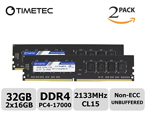 Timetec Hynix IC 32GB Kit (2x16GB) DDR4 2133MHz PC4-17000 Unbuffered Non-ECC 1.2V CL15 2Rx8 Dual Rank 288 Pin UDIMM Desktop Arbeitsspeicher Module Upgrade (32GB Kit (2x16GB))