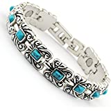 """Joyería Wollet 7.3""""vintage plata tibetana azul turquesa pulsera mujer terapia magnética pulseras ladies + libre bolsa de regalo"""