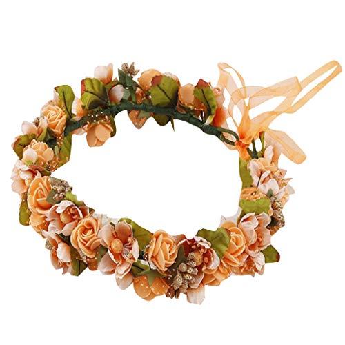 one Boho Blume Stirnband Haarkranz Haargirlande Blume Halo Blumenkopfschmuck Hochzeitsfest Party ()