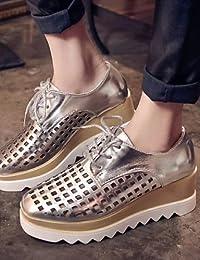NJX/ 2016 Zapatos de mujer - Tacón Plano - Comfort / Punta Redonda - Oxfords - Casual - Nappa Leather - Negro / Marrón / Rojo , black-us8 / eu39 / uk6 / cn39 , black-us8 / eu39 / uk6 / cn39