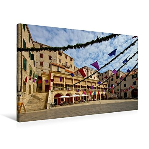 Preisvergleich Produktbild Premium Textil-Leinwand 75 cm x 50 cm quer, Rathaus in Šibenik | Wandbild, Bild auf Keilrahmen, Fertigbild auf echter Leinwand, Leinwanddruck: Unterwegs in Mitteldalmatien (CALVENDO Orte)