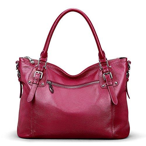 S-ZONE Damen Classic Leather Tote Hobosund Schultertasche (Blau-Groß) Rose Rot-Mittel
