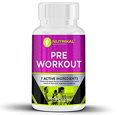 Nutrikal Pre Workout Premium Supplement Blend - For Explosive Power and Increased Durabiliry - with Beetroot Extract, L-Citrullin-DL-Malate, Arginine Alpha-Ketoglutarate, L-Tyrosine, Tri Creatine Malate and L-Taurine - 60 Capsules
