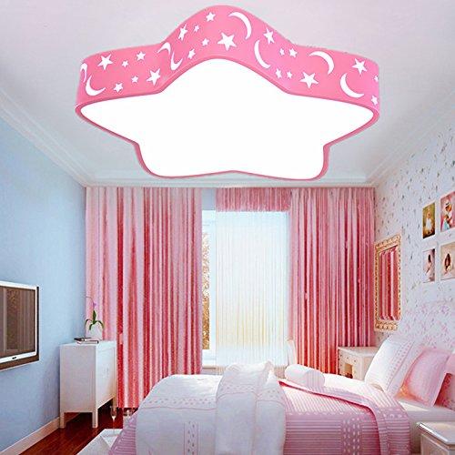 BBSLT Natale lampada da soffitto, creativo, stella a cinque punte, Principessa camera, LED, Rosa, camera da letto (44*44*12cm)