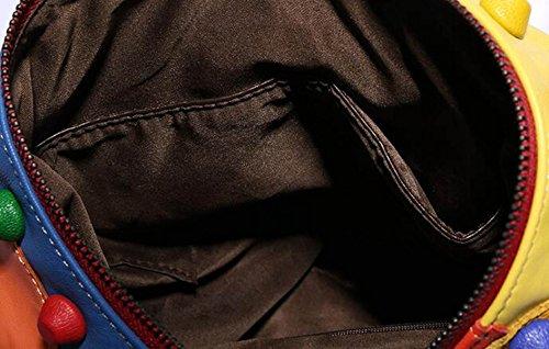 Dame Casual Fashion Stitching Schultertasche Ledertasche Stitching Leder Tasche Handtasche Color Travel Rucksack Multi