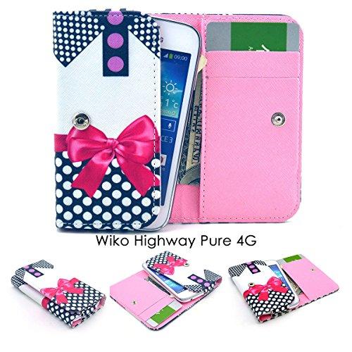 ZeWoo PU Leder Brieftasche - GT10 / (4#) Red Bowknot + Cute Dot - für Wiko Highway Pure 4G (4,8 Zoll) Tasche Hülle
