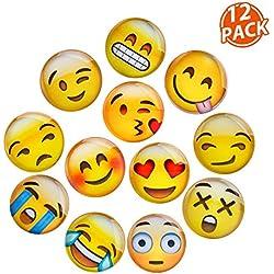Lesfit Aimant Emoji, 12 Pièce 3D Verre Smiley Aimant Réfrigérateur à Forte Adhérence pour Décorer Frigos, Tableau Blanc, Casiers Scolaires (3cm)