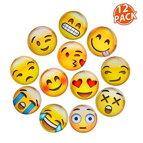 Lesfit Magnete Emoji, 12 Pezzi 3D Cristallo Bicchiere Frigo Magneti per lavagna Magnetica con decorazioni da ufficio divertente (1.18 pollici)