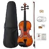 Mugig Violin 4/4 Full Size, Solid Wood Violin Kit with Case, String