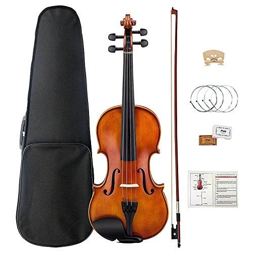Violine, Mugig Violin 4/4 Voller Größe Massivholz Geige mit Ebenholz Griffbrett 4-saitige Instrument mit Harten Fall, Schulterstütze, Bogen, Kolophonium, Brücke und Saiten