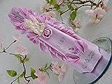 Geschnitzte Taufkerze Kommunionkerze rosa für Mädchen mit Schutzengel 3D inkl. Name und Datum