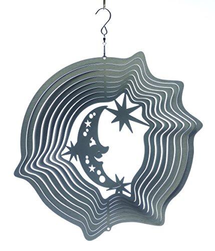 Mobile à vent lune & étoiles argent 15cm