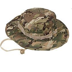Da.Wa Sombrero de Pescador Camuflaje Del Ejército de Ala Ancha Borde Redondo Anti-UV Algodón Acampada Senderismo Deporte al Aire Libre Ocio Gorra Montaña para Adulto Unisexo