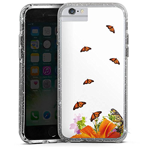 Apple iPhone 7 Plus Bumper Hülle Bumper Case Glitzer Hülle Schmetterlinge Blume Flower Bumper Case Glitzer silber