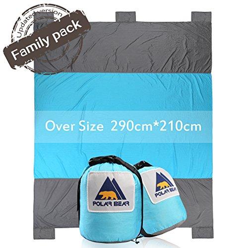 PolarBear Picknickdecke Campingdecke Strandmatte 290cm X 210cm Sand Resistant Reiseunterlage Sky Blue