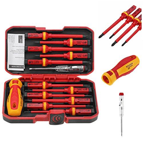 DIY 13pcs 1000V Elektronische isolierte Schraubendreher-Set Phillips Schlitz Torx CR-V Schraubendreher Handwerkzeuge Handwerkzeug