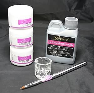 Windmax Ships Nail Art Kit White Pink Clear Acrylic Powder Acrylic Liquid Pen Dappen Dish Kit