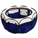 CellDeal Folding Fabric Pet Play Pen Puppy Dog Cat Rabbit Guinea Pig Playpen Run Cage Blue