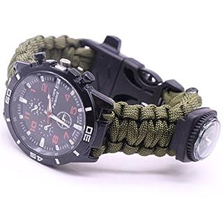 Outdoor Survival Watch Bracelet Paracord Compass Flint Fire Starter Whistle New (E)