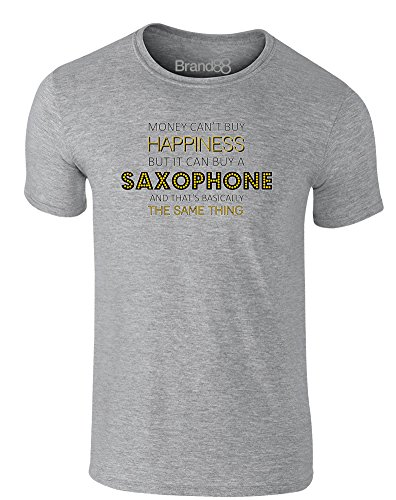 Brand88 - Money Can Buy A Saxophone, Erwachsene Gedrucktes T-Shirt Grau