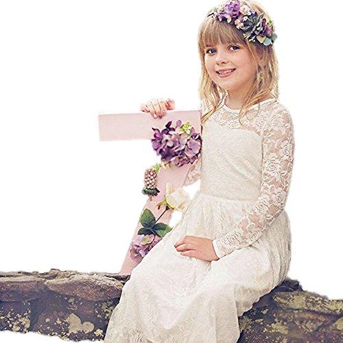zenkleid für Mädchen Weiß Hochzeit Blumen Kleid Partykleid mit großen Bogen (Kommunion Kleider Mit ärmeln)