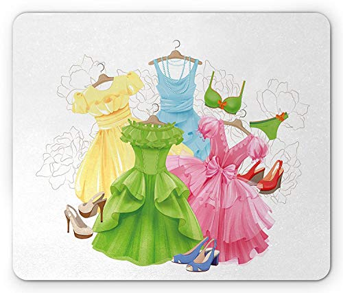 WYICPLO Heels and Dresses Mouse Pad, Princess Outfits Bikini Shoes Wardrobe Party Costumes in Girls Design, Standard Size Rectangle Non-Slip Rubber Mousepad, Multicolor