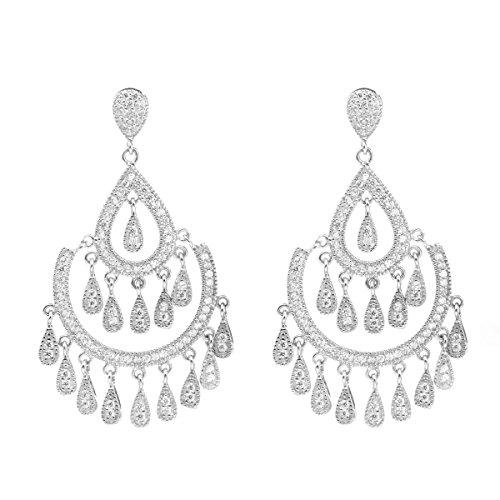 925 Sterling Silber Zirkonia Damen Anhänger Ohrringe (Luxus-Wassertropfen) CHANGEABLE