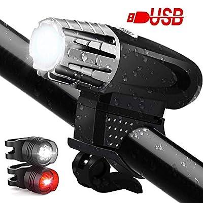 CHIZEA LED Fahrradlicht Set, IPX65 Wasserdicht LED Fahrradlampe, USB Wiederaufladbare LED Fahrradbeleuchtung mit 4 Licht-Modus Fahrrad Licht für Radfahren,Wandern