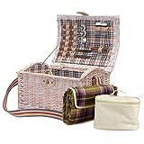 Luxuriöser Picknick Korb Im 'Shabby Chic' Stil für 2 Personen mit Kühltasche - Die Geschenk Idee Zur Hochzeit, Geburtstag, Jubiläum
