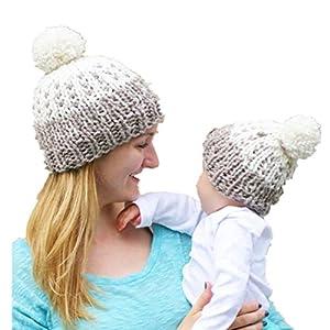 Sombreros de bebé Gorros de Punto 2PCS Gorro de Invierno para Madre y bebé 10