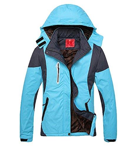 Paar Outdoor Sportswear Wasserdicht Klettern Kapuzenjacke Outdoor Coat Dicke Baumwolle Jacke - sky blue -Women