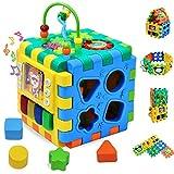 INvench Aktivität Würfel Baby Kinderspielzeug - Motorikwürfel Vielfältiges Spielerlebnis auf Sechs Spielflächen Entdecken Spielzeug Lernuhr Geburtstaggeschenk