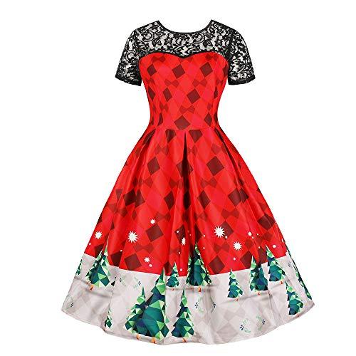 rock der Prinzessin Kleid Damen Frauen-großes Größen-Weihnachtsweinlese-Druckabend-Partei-Abschlussball-Schwingen-Kleid Mode Elegant Kleidung Bluse Tops ()