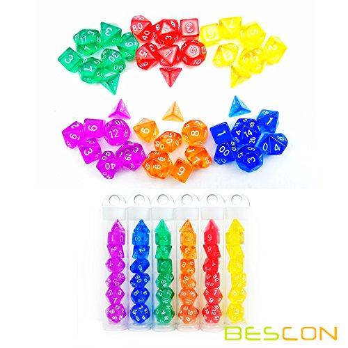 Bescon Mini Durchsichtig 6X7 42pcs Polygonal Würfel Set 10mm- 6 Einzigartige Transparente Farben Mini Spielwürfel D&D Dice Set of 7, 42pcs Kleine RPG – Rollenspiel Polyedrische Dice Set in Tube