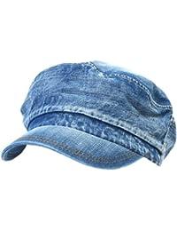 ililily Vintage Washed Denim Military Solid Color Cotton Cadet Cap Flex-fit Army Camo style Hat (cadet-524)