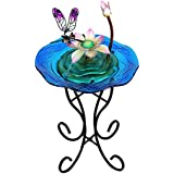 Wonderland Pink Lotus And Dragonfly Glass & Metal Fountain With Stand & Motor (Home Decor, Fountain, Gifting)