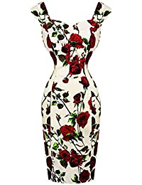 14f69e2cef68 VOODOO VIXEN Hearts and Roses London Red Rose Floral Vintage 1950s Retro  Pencil Wiggle Dress