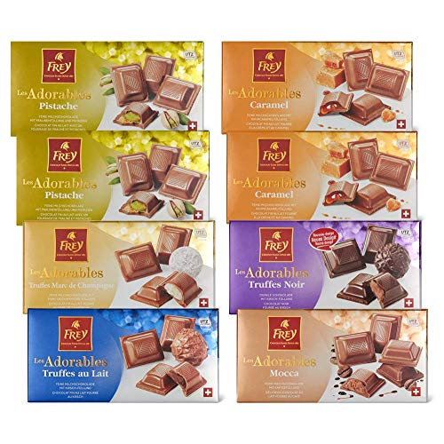 Frey 8x feinste Schokoladentafeln aus 6 Sorten - Les Adorables Mix - Schweizer Schokolade Tafel einzigartigen Füllungen - Großpackung 8x 100 g - UTZ-zertifiziert - Schokoladengeschenkset
