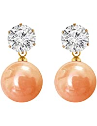 Shreya Collection Elegant & Fashionable Peach Colour Faux Pearl & White Stone Stud Earrings - 878.8