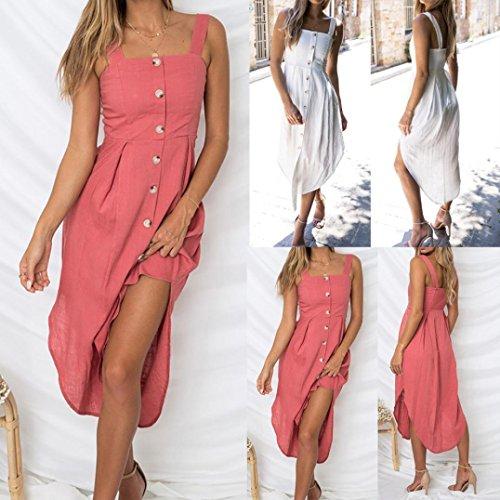 Solid Buttons Irregular Dress DIKEWANG Ladies Summer Holiday Sleeveless Beach Party Dress